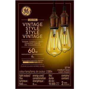 GE 60W LED ST19 VIN CL DIM (2-Pack)