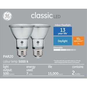 GE 7W LED PAR20 DAYLIGHT (2-Pack)