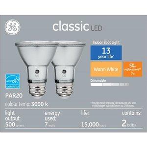 GE 7W LED PAR20 SOFT WHITE (2-Pack)