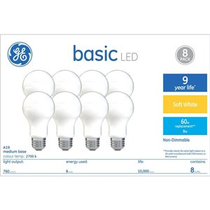 GE 8.5-Watt A19 Frosted Soft White LED Light Bulb (8-Pack)