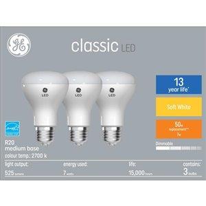 GE 7W LED R20 SOFT WHITE (3-Pack)