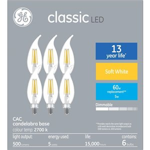 GE 60W LED CA10C CL DIM 8KH (6-Pack)