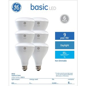 GE 9W LED R30 DAYLIGHT (6-Pack)