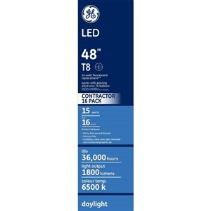 GE 15W LED T8 48-in DAYLIGHT (16-Pack)