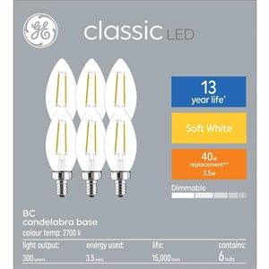 GE 40W LED B10C CL DIM 7.5KH (6-Pack)