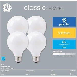 GE 60W LED G25 FR DIM 7.5KH (4-Pack)