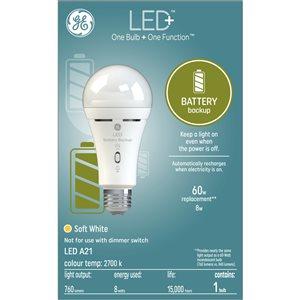 GE 8-Watt A21 with Battery Backup LED Soft White Light Bulb