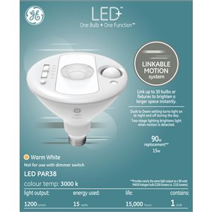 GE LED Bulb - PAR38 with Motion Sensor - 15 W - White