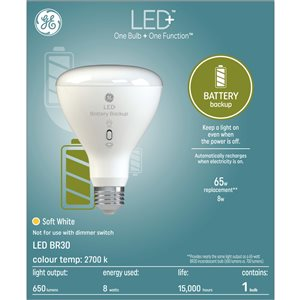 GE LED+ 8W R30 Battery Back-up (1-Pack)