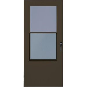 LARSON 36-in Bismarck Brown Mid-View Tempered Glass Self Storing Wood Core Storm Door