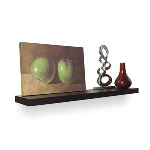 Style Selections 48-in Black Wood Wall Mounted Shelf