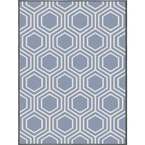 6-ft x 8-ft Blue Trellis Woven Outdoor Area Rug