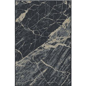 6-ft x 8-ft Black Marble Woven Outdoor Area Rug