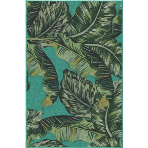5-ft x 7-ft Green Palm Outdoor Area Rug