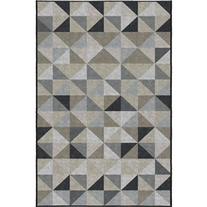 5-ft x 7-ft Grey and Black Geometric Outdoor Area Rug