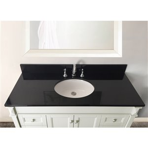 allen + roth 49-in Jet Black Granite Undermount Bathroom Vanity Top