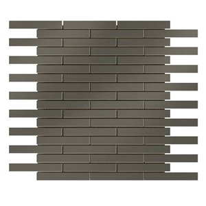 Faber 12 x 12 Stainless Steel Mixed Material Mosaic Subway Wall Tile