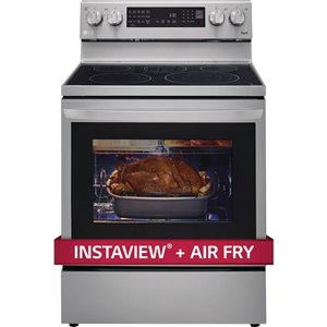 LG 30-in 6.3 cu ft. Electric Single ThinQ InstaView Range with Air Fry (Stainless Steel)