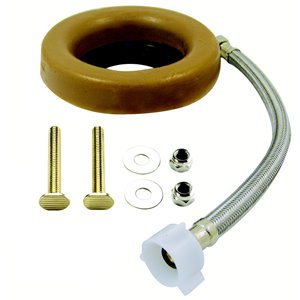 Toilet Installation Kit w/ Wax Ring, 16-in Supply Line, & Bolts