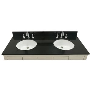 allen + roth 61-in Jet Black Granite Undermount Bathroom Vanity Top