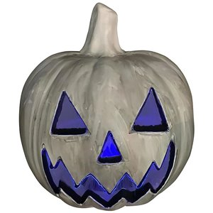 Gemmy 20-in Lighted Blow Mold-Fiber Optic-Pumpkin-Traditional Face-Grey Brushed - Color Changing