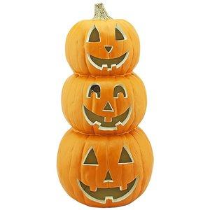 Gemmy 19-in Lighted Blow Mold Pumpkin-Orange Happy Trio
