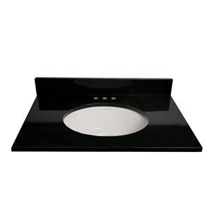 allen + roth 25-in Jet Black Granite Undermount Bathroom Vanity Top