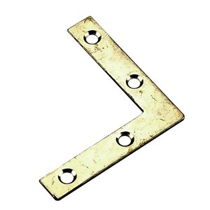 Onward Flat Corner Plate, 3/8 in (10 mm) x 2 in (51 mm) Brass Plated (4-Pack)