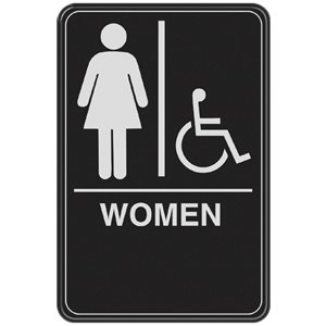Hillman 9-in x 6-in Women Handicap Accessible Restroom Sign