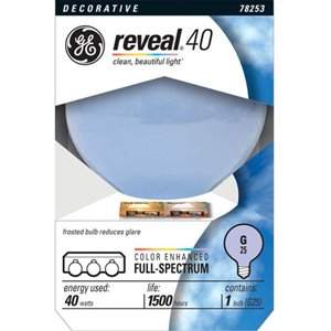 GE GE INCANDESCENT 40W G25 REVEAL 1 PACK