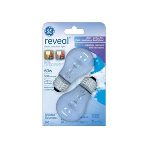GE 2-Pack 60-Watt A15 Medium Base Color-Enhancing Incandescent Light Bulbs