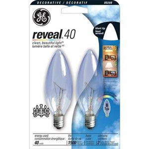 GE 40-Watt/230 Lumens Candelabra Base (E-12) Dimmable Incandescent Light Bulb (2-Pack)