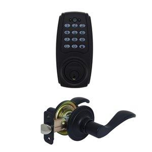 Gatehouse Wave Electronic Door Handle with Lighted Keypad/Deadbolt Combo (Matte Black)