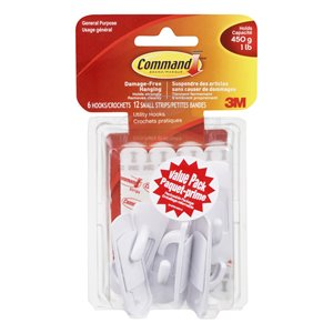 3M Command Small White Hooks Value Pack 6-Pack