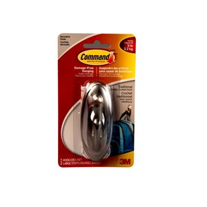 3M Command Large Brushed Nickel Traditional Decorative Hook