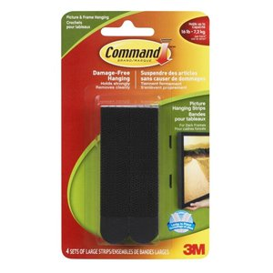 3M Command Large Black Picture Hanging Strips (4 pack)