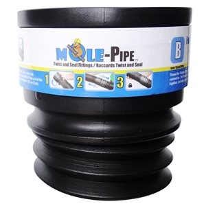 Reln 3-in / 4-in Dia. x 4-in Black MOLE-Pipe Female Drain Pipe Adapter