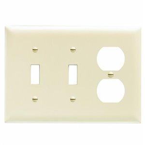 Legrand Trademaster 3-Gang Toggle/Duplex Combination Wall Plate (Light Almond)