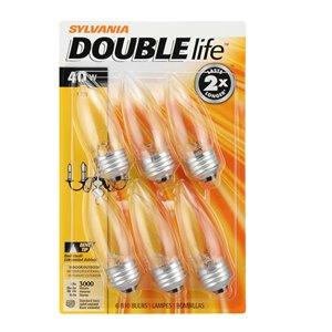 SYLVANIA 40-Watt/150 Lumens Medium Base (E-26) Dimmable Candle B10 Incandescent Light Bulb (6-Pack)