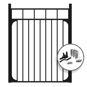 IMPERIAL 4-ft x 4-ft Gate Kit Fence Black- Finials