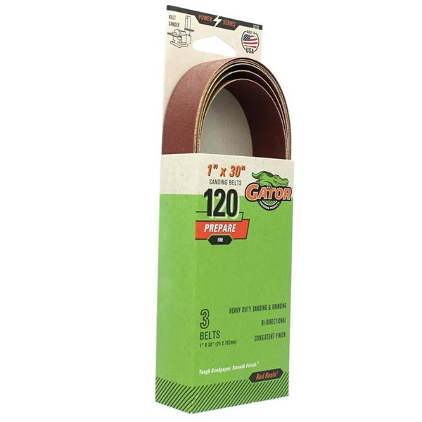 120-Grit Bi-Directional Sanding Belt 3210 ALI INDUSTRIES 3-Pk. 1 x 30-In