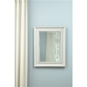 Style Selections 21-in x 27-in White Rectangle Framed Wall Mirror
