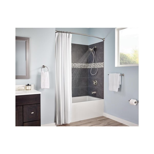 Moen 60 In Brushed Nickel Curved, How To Install Moen Tension Shower Curtain Rod