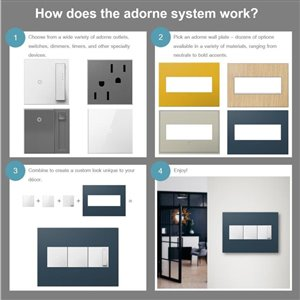 Legrand adorne 3-Gang Square Mirrored Wall Plate (White)
