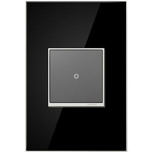 Legrand adorne 1-Gang Square Mirrored Wall Plate (Black)