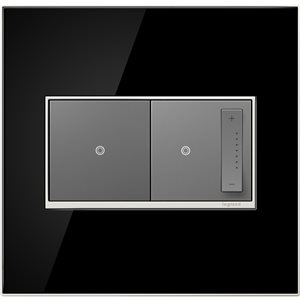 Legrand adorne 2-Gang Square Mirrored Wall Plate (Black)
