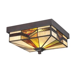 allen + roth Vistora 11-in Bronze Outdoor Flush-Mount Light
