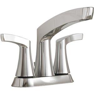 Moen Danika Chrome 2-Handle 4-in Centerset WaterSense Bathroom Sink Faucet with Drain