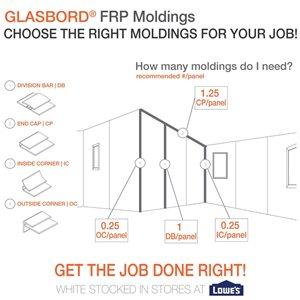 48-in x 8-ft FRP Outside Corner Wall Panel Moulding