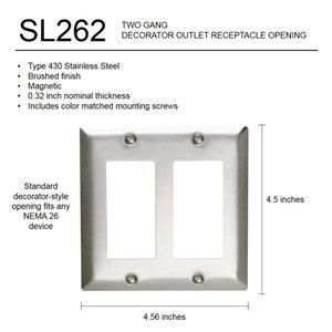 Legrand 2-Gang Decorator Rocker Wall Plate (Stainless Steel)